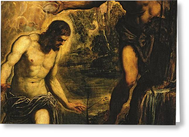 The Baptism of Christ Greeting Card by Jacopo Robusti Tintoretto