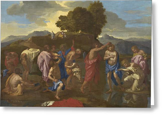 Jordan Greeting Cards - The Baptism of Christ Greeting Card by Nicolas Poussin