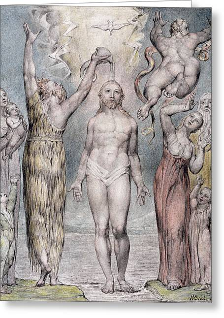 Son Of God Drawings Greeting Cards - The Baptism Of Christ Greeting Card by William Blake