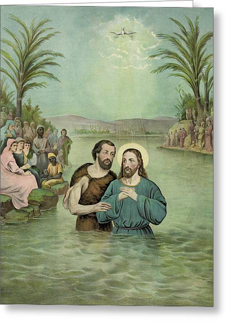 Son Of God Drawings Greeting Cards - The Baptism of Jesus Christ Circa 1893 Greeting Card by Aged Pixel