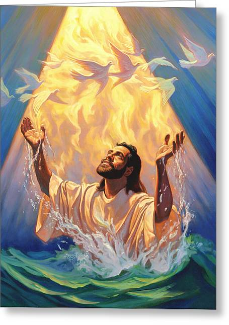 Doves Paintings Greeting Cards - The Baptism of Jesus Greeting Card by Jeff Haynie