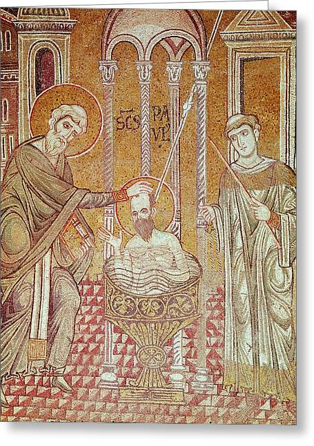 The Baptism Of St. Paul By Ananias, From Scenes From The Life Of St. Paul Mosaic Greeting Card by Byzantine School