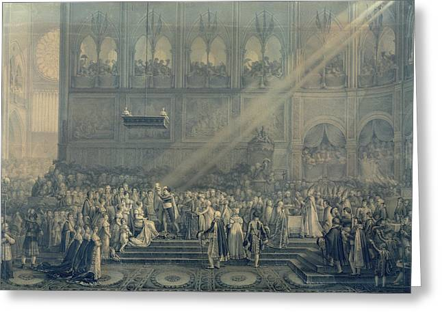 Marie-louise Greeting Cards - The Baptism Of The King Of Rome 1811-32 At Notre-dame, 10th June 1811, After 1811 Engraving Greeting Card by French School