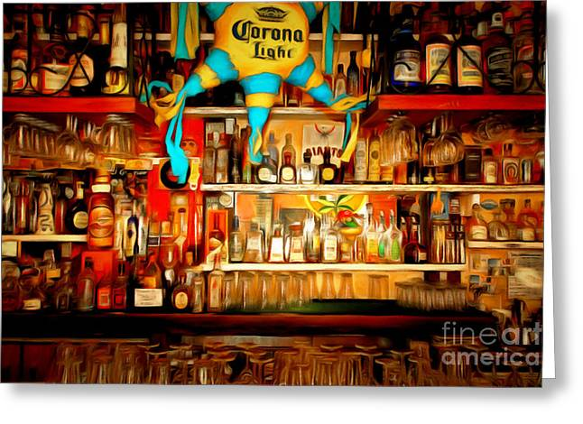 Mexican Fiesta Greeting Cards - The Bar 7D14187brun Greeting Card by Wingsdomain Art and Photography