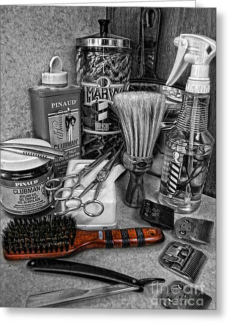 Recently Sold -  - Powder Greeting Cards - The Barbers Brush Greeting Card by Lee Dos Santos
