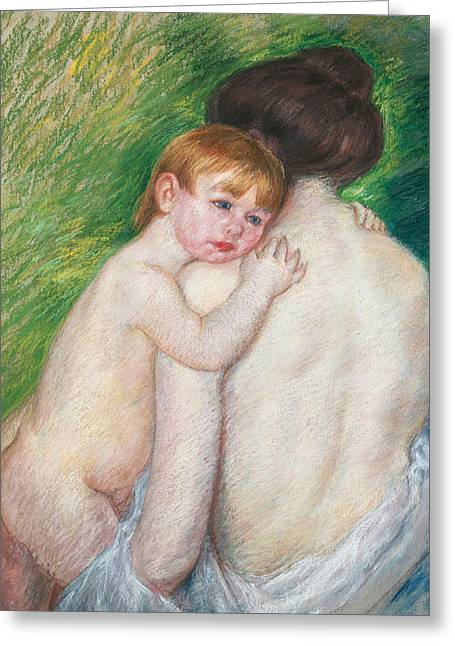 Child Posters Greeting Cards - The Bare Back Greeting Card by Mary Cassatt Stevenson