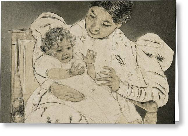 Cassatt Drawings Greeting Cards - The Barefooted Child Greeting Card by Mary Stevenson Cassatt