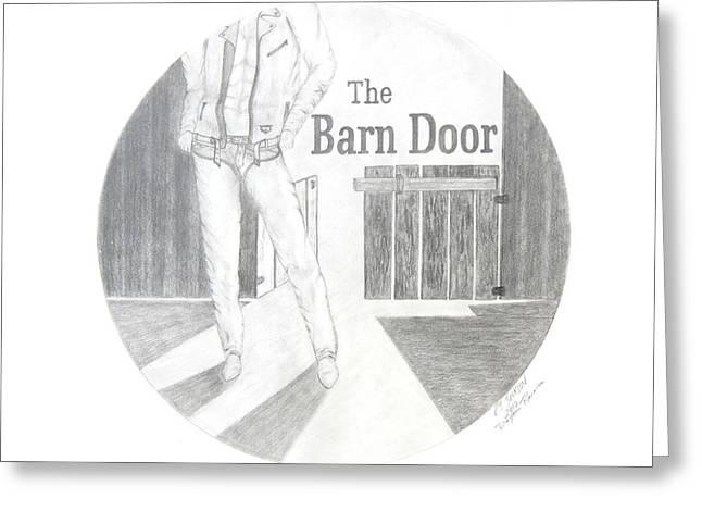 Barn Door Drawings Greeting Cards - The Barn Door logo rendering Greeting Card by PJ Jackson