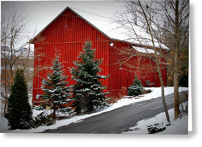 White As Snow Greeting Cards - The Barn In Wintertime Greeting Card by Jeanne Geidel-Neal