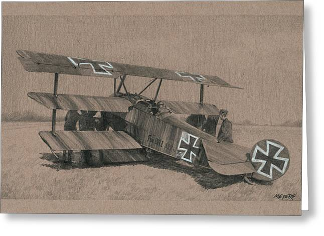 Triplane Greeting Cards - The Barons Tripe Greeting Card by Wade Meyers