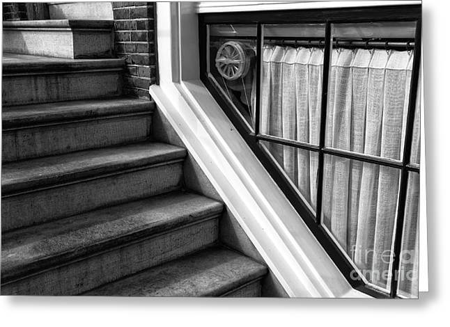 Stone Steps Greeting Cards - The Basement Window mono Greeting Card by John Rizzuto