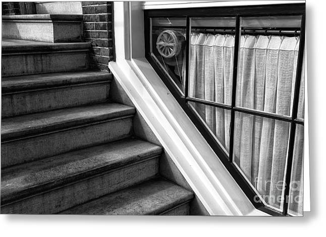 Basement Greeting Cards - The Basement Window mono Greeting Card by John Rizzuto
