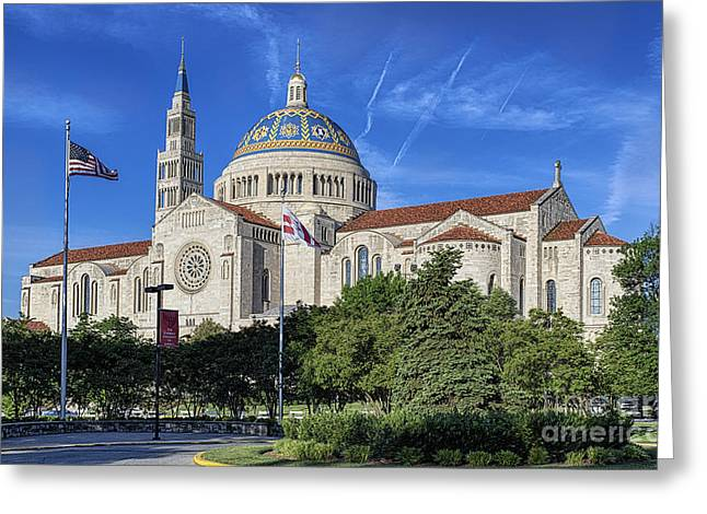 Lady Washington Greeting Cards - The Basilica of the National Shrine of the Immaculate Conception Greeting Card by John Greim