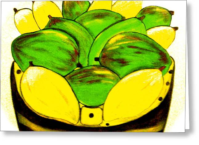 Mango Greeting Cards - The Basket Greeting Card by Lorna Maza