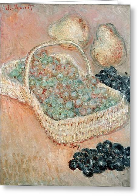Raisin Greeting Cards - The Basket Of Grapes, 1884 Oil On Canvas Greeting Card by Claude Monet