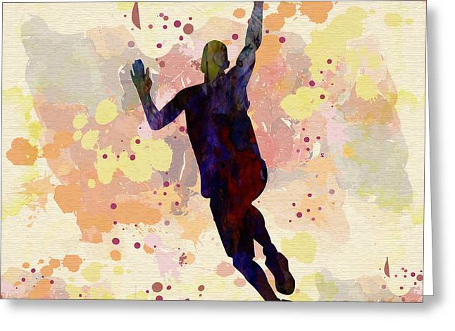 Slam Drawings Greeting Cards - The Basket Player  Greeting Card by Celestial Images