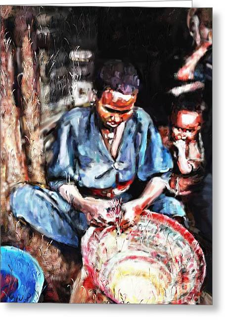 African-american Pastels Greeting Cards - The Basket Weaver Greeting Card by Vannetta Ferguson