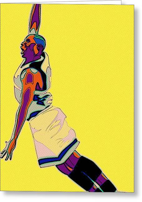 Slamdunk Digital Greeting Cards - The Basketball Player Greeting Card by Florian Rodarte