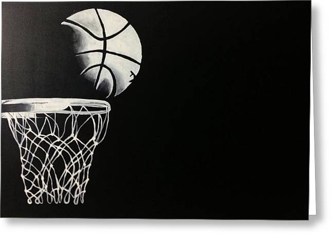 Basket Ball Game Paintings Greeting Cards - The Basketball Greeting Card by Sanjay Thamake