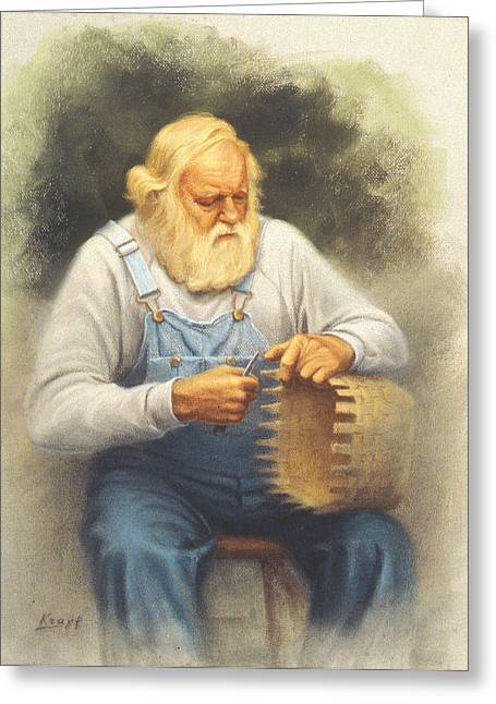 Craftsman Greeting Cards - The Basketmaker in pastel Greeting Card by Paul Krapf