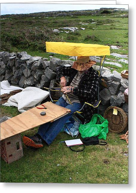 The Basketmaker Of The Aran Islands Greeting Card by Aidan Moran