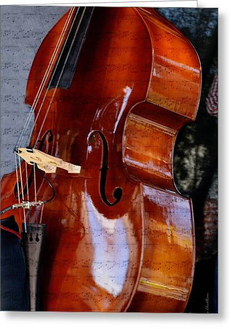 Kae Cheatham Greeting Cards - The Bass of Music Greeting Card by Kae Cheatham
