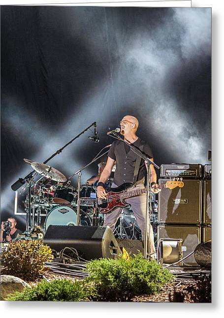 Live Music Greeting Cards - The Bass Player Jerry Flowers Greeting Card by Mike Burgquist