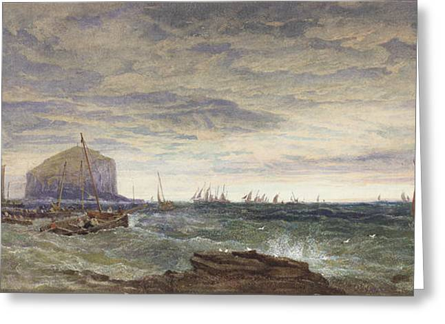 Sailing Boat Greeting Cards - The Bass Rock At Dawn, 1855 Wc & Bodycolour Over Graphite On Paper Greeting Card by Edward Duncan
