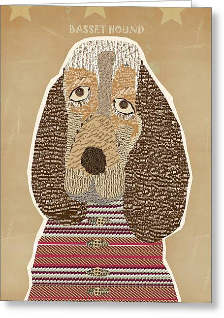 Abstract Of Dogs Greeting Cards - The Basset Hound Greeting Card by Bri Buckley