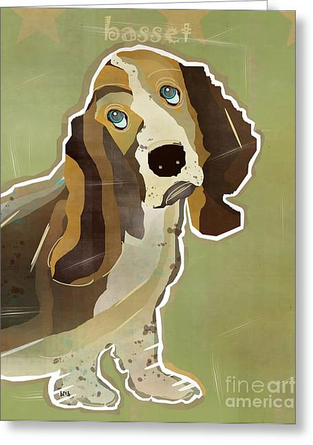 Basset Hound Prints Greeting Cards - The Basset Hound  Greeting Card by Bri Buckley
