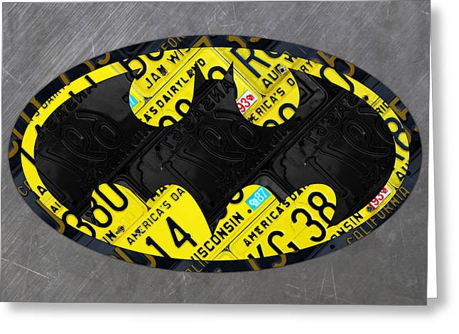 Batman Mixed Media Greeting Cards - The Bat Symbol Superhero Batman Recycled License Plate Art Greeting Card by Design Turnpike