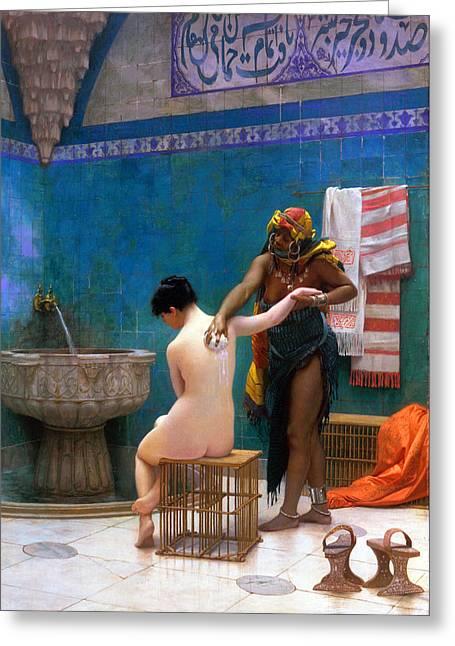 The Bath Greeting Card by Munir Alawi