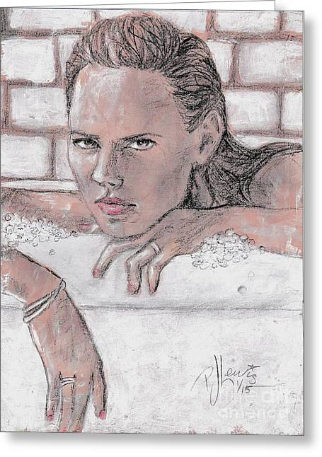 Face Of A Woman Greeting Cards - The Bath Greeting Card by P J Lewis