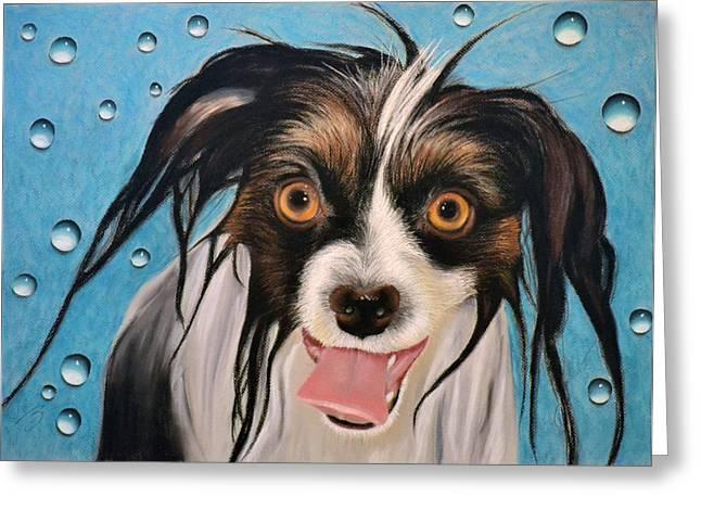 Puppies Pastels Greeting Cards - The Bath - Pastel Greeting Card by Ben Kotyuk