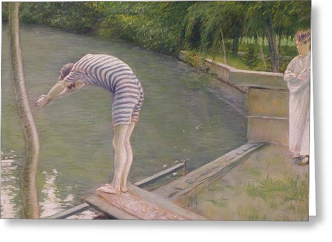 Pastimes Greeting Cards - The Bather, Or The Diver, 1877 Oil On Canvas Greeting Card by Gustave Caillebotte