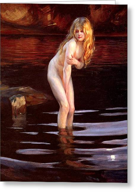 Baigneuses Greeting Cards - The Bather Greeting Card by Paul Emile Chabas