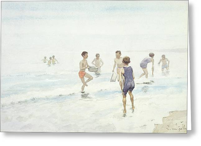 On The Beach Greeting Cards - The Bathers Greeting Card by Edward van Goethem