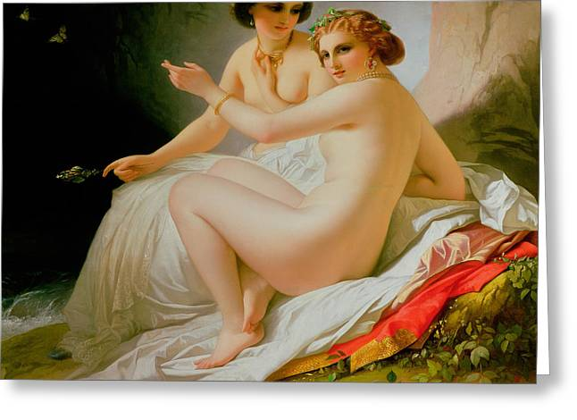 Stylish Paintings Greeting Cards - The Bathers Greeting Card by Louis Hersent