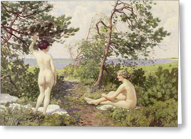 Sunbathing Paintings Greeting Cards - The Bathers Greeting Card by Paul Fischer