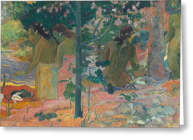 Post-impressionism Greeting Cards - The Bathers Greeting Card by Paul Gaugin