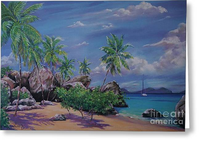 Puerto Rico Pastels Greeting Cards - The Baths at Virgin Gorda   15x23 Greeting Card by John Clark
