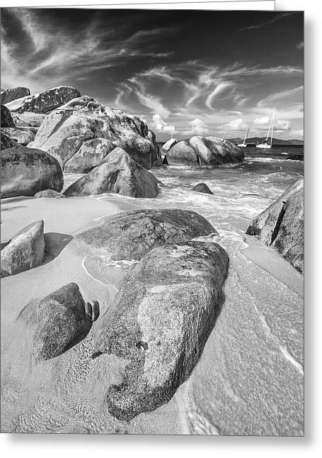 Virgin Islands Greeting Cards - The Baths in Black and White Greeting Card by Adam Romanowicz