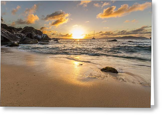 Surf Silhouette Greeting Cards - The Baths Sunset Greeting Card by Bruno Kolovrat