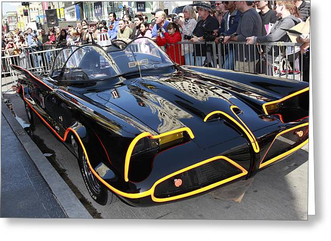 Crime Fighter Greeting Cards - The Batmobile Greeting Card by Nina Prommer
