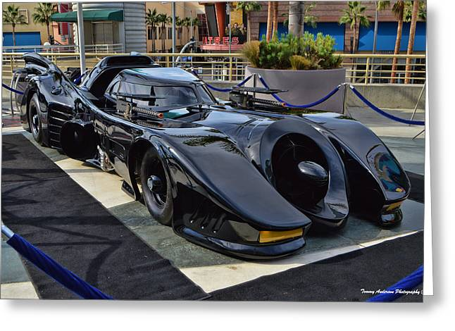 Recently Sold -  - Crime Fighter Greeting Cards - The Batmobile Greeting Card by Tommy Anderson