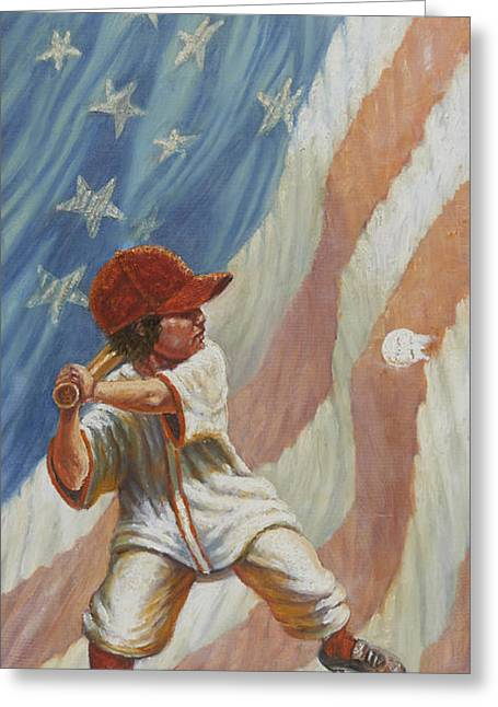The Batter Greeting Card by Gregory Perillo