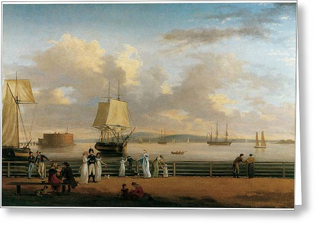 The Battery Greeting Cards - The Battery and Harbor Greeting Card by Thomas Birch