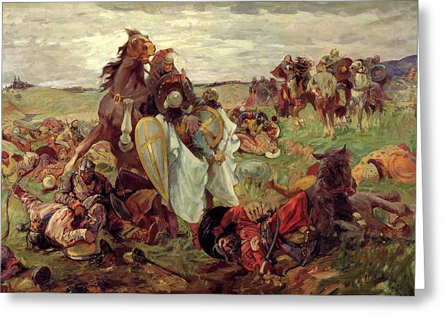 Warfare Greeting Cards - The Battle Between Russians And Tatars, 1916 Oil On Canvas Greeting Card by Sergey Nikolayevich Arkhipov