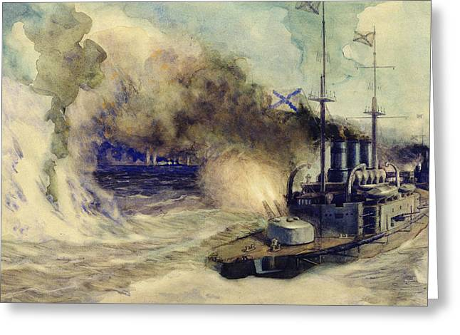 Wwi Paintings Greeting Cards - The battle between the Black Sea Fleet and the armoured cruiser Goeben Greeting Card by Mikhail Mikhailovich Semyonov