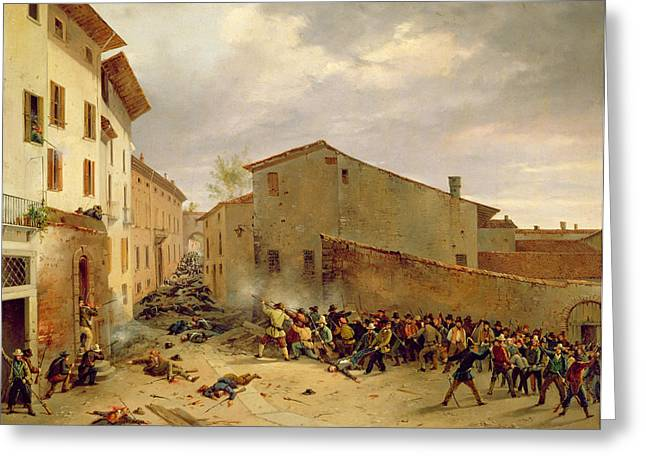 Rebellions Greeting Cards - The Battle Of 31st March 1849 In The Via Delle Consolazioni In Brescia Oil On Canvas Greeting Card by Faustino Joli